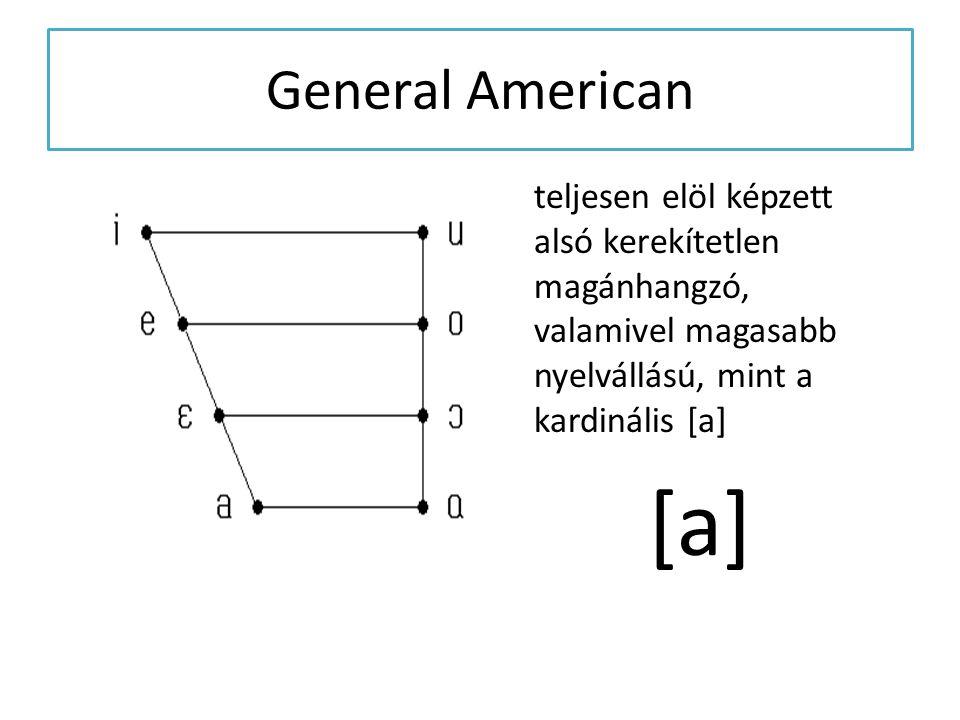 General American teljesen elöl képzett alsó kerekítetlen magánhangzó, valamivel magasabb nyelvállású, mint a kardinális [a]